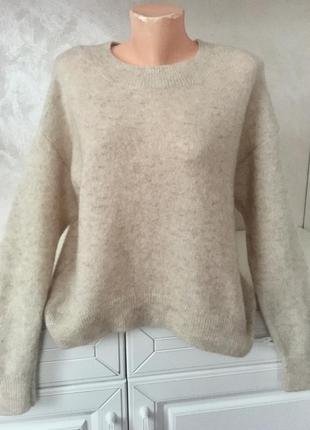 Шикарный базовый тёплый свитер свободного фасона шерсть мохер