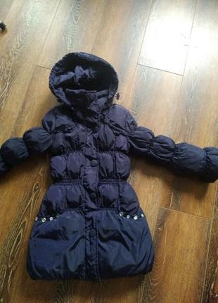 Курточка пальтішко на дівчинку 3-5р, темно-фіолетового кольору