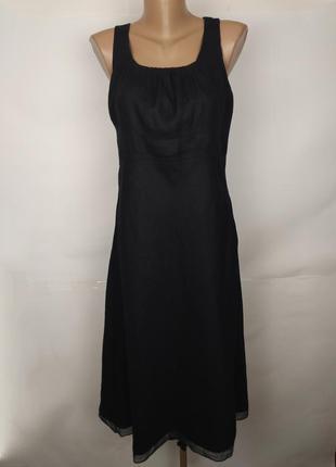 Платье льняное натуральное синие базовое 100% лен uk 12/40/m