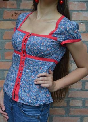Распродажа лета! летняя котоновая блуза-рубашка с коротким рукавом на пуговках