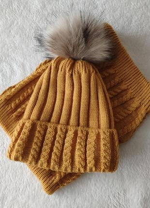 Горчичная шапка и хомут комплект, зимний на флисе