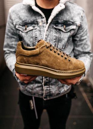 Стильные замшевые мужские кроссовки alexander mcqueen (весна-лето-осень)😍