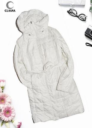 Белое длинное пальто с капюшоном clasna