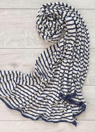 Шарф, шарфик білий з голубим, полосатий шарф.