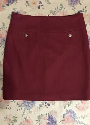 Стильная юбка бордо из шерсти