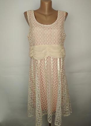 Платье красивое кремовое легкое с вышивкой летнее uk 14/42/l