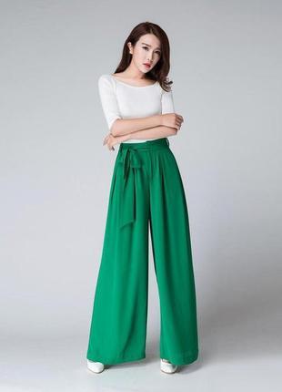 Широкие брюки палаццо зеленого цвета с поясом новые большой размер 16/18 primark