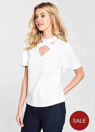 Блуза топ белый футболка v by very 12/14р l xl рукава воланы переплёт