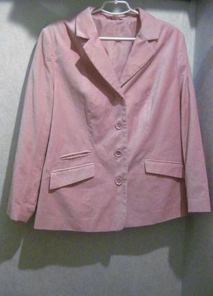 Пиджак розовый вельвет велюр