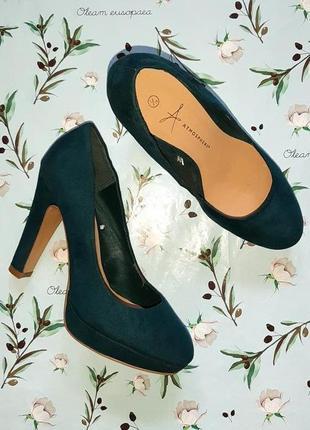 Шикарные изумрудные туфли на широком каблуке atmosphere, размер 36