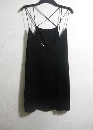 Платье сарафан мини moss copenhagen чёрное коктейльное бретельки накрест