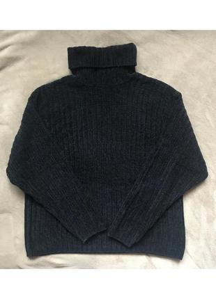 Чёрный тёплый свободный свитер, кофта с горлом