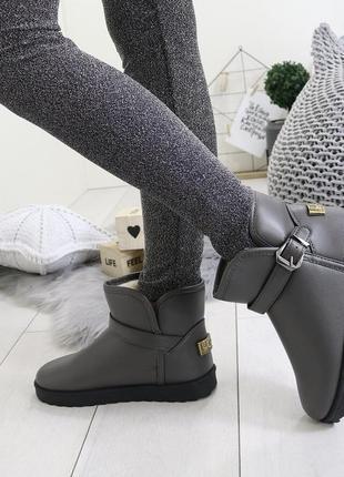 Новые шикарные женские зимние серые угги сапоги