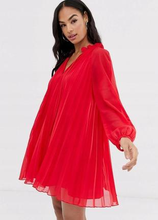 Asos червона сукня-плісе оверсайз
