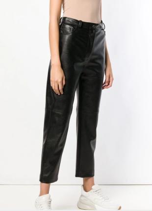 Натур. кожаные высокие брюки mom италия штаны