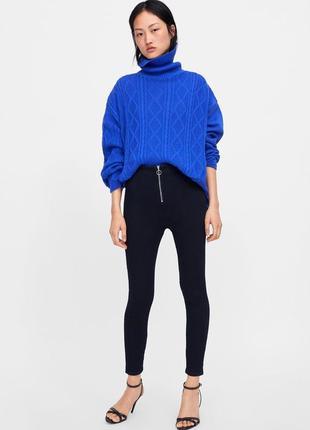Базовые узкие джинсы джегенсы zara с высокой посадкой на талию