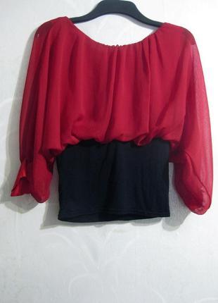 Блузка красная чёрная комбинированная четверной рукав франция