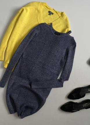 Стильное вязанное платье свитер с красивыми вырезами спереди topshop