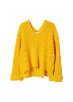 Стильный  вязаный желтый укороченный свитер из новой коллекции