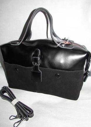 Сумка кожаная черная чёрная бочонок вместительная замшевая с ремешком женская крутая новая
