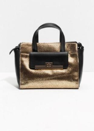 Фирменная чёрно-золотая сумка кроссбоди кожа натуральная & other stories оригинал