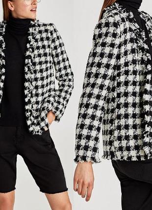 Крутой твидовый шерстяной пиджак блейзер жакет в клетку гусиная лапка из новой коллекции