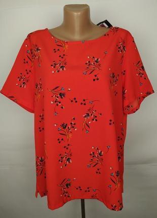 Блуза новая красная комбинированная в принт большой размер marks&spencer uk 18/46/xxl