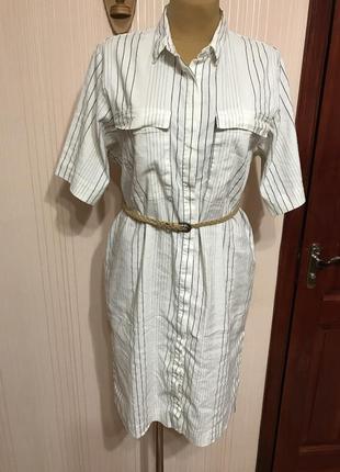Классное актуальное платье-рубашка из льна