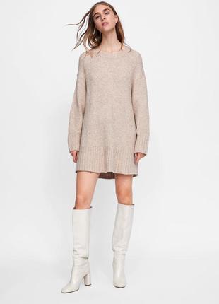 Вязаный длинный свитер-платье zara