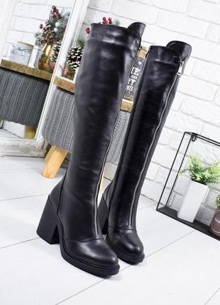 ❤ женские черные зимние кожаные высокие сапоги полусапожки ботильоны на шерсти ❤