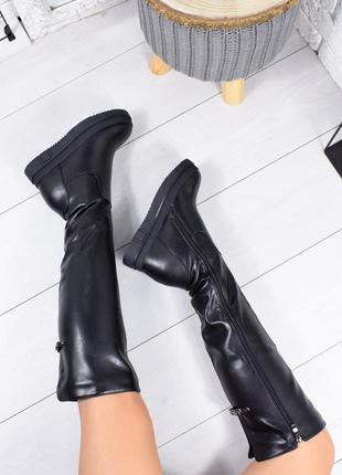 ❤ женские черные зимние ботинки сапоги полусапожки ботильоны на меху ❤