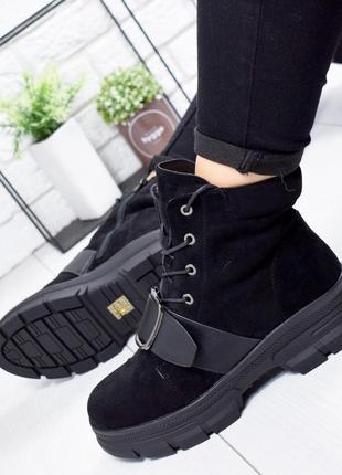 ❤ женские черные зимние ботинки сапоги полусапожки ботильоны на шерсти ❤