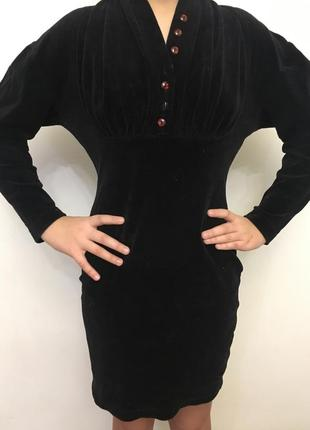 Платье велюровое черное