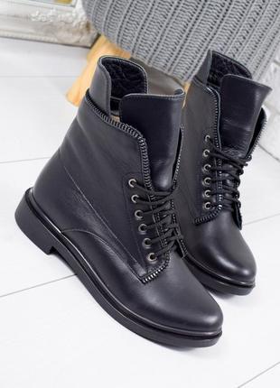 ❤ женские черные зимние кожаные ботинки сапоги полусапожки ботильоны на меху ❤