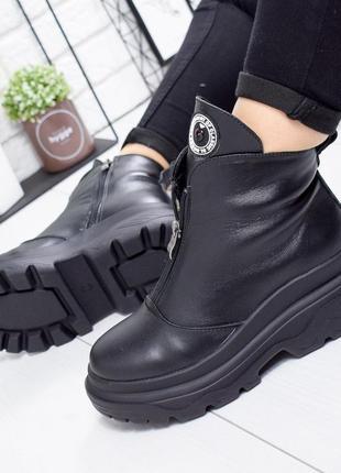 ❤ женские черные зимние кожаные ботинки сапоги полусапожки ботильоны на шерсти  ❤