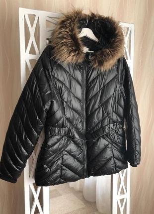 Теплая стеганная демисезонная куртка с капюшоном h&m