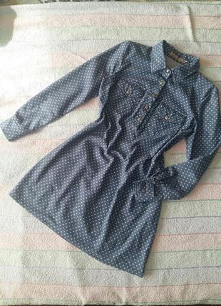 Платье-рубашка джинсовое на не высокий рост