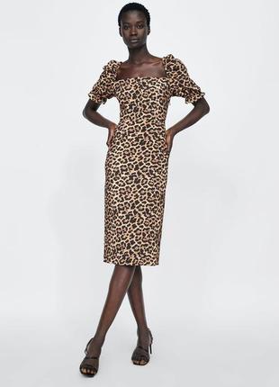 Платье с леопардовым принтом zara