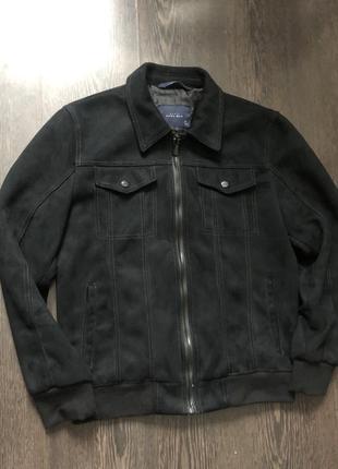 Чёрная куртка пиджак под замш zara man