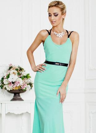 Платье макси бирюзовое с открытой спиной длинное в пол нарядное вечерне