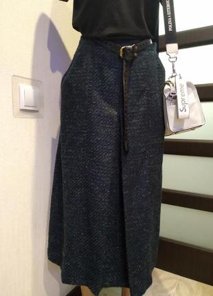 Шерстяная юбка трапеция миди очень тёплая с карманами