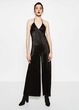 Вечерний комбинезон zara, широкие брюки, тёмный графит металлик, блеск, секси ромпер