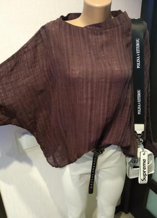 Льняная блузка оверсайз бохо стиль укороченная