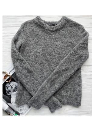 Серый шерстяной плюшевый свитер светр кофта альпака шерсть