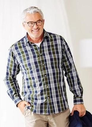 Стильная и модная клетчатая рубашка от tcm tchibo, германия, ворот 43-44 р-р xl