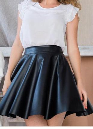 Шкіряна міні спідниця юбка