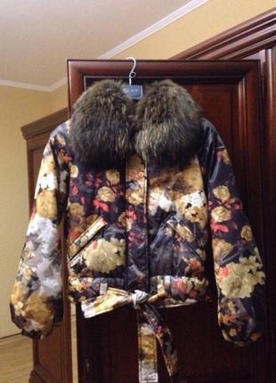 Куртка пуховик оригинал just cavalli с натуральным мехом original