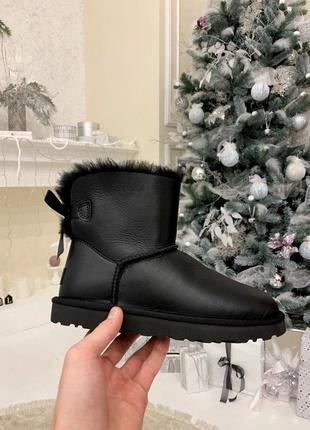 Ugg bailey bow 2! женские кожаные зимние угги/ сапоги/ ботинки/ луноходы😍{с мехом}