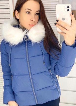 Женский короткий молодежный пуховик  размер s(42) цвет синий