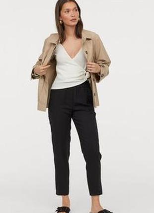 Укороченные коттоновые брюки с разрезом от h&m